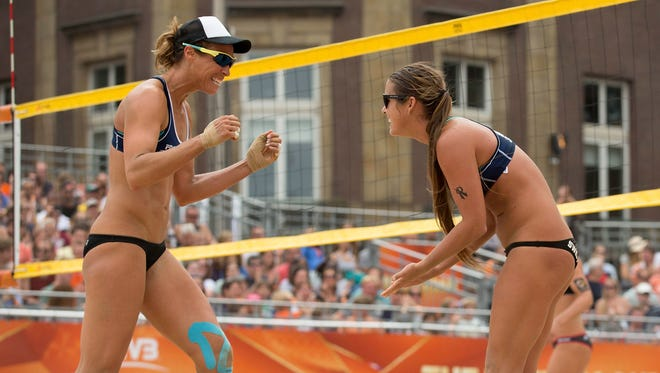 Brooke Sweat and Lauren Fendrick during an FIVB grand slam in the Netherlands in 2015.