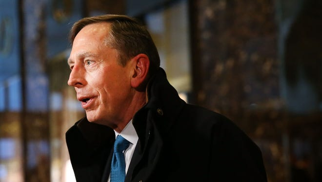 Retired Gen. David Petraeus speaks to members of the media while leaving  Trump Tower Nov. 28. President-elect Donald Trump and his transition team are in the process of filling cabinet and other high level positions for the new administration.