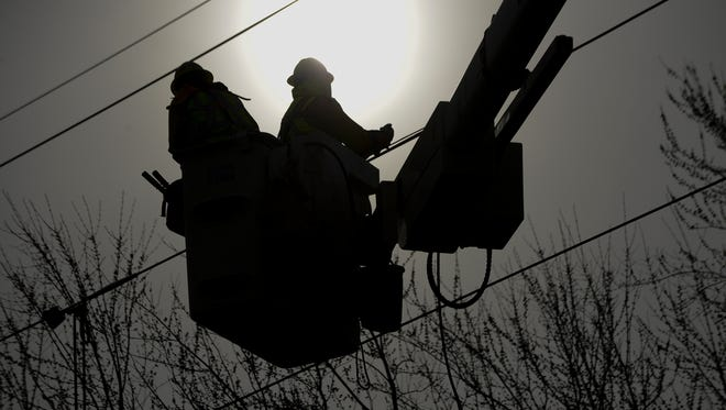 DTE says about 30,000 customers were still without power Wednesday morning.