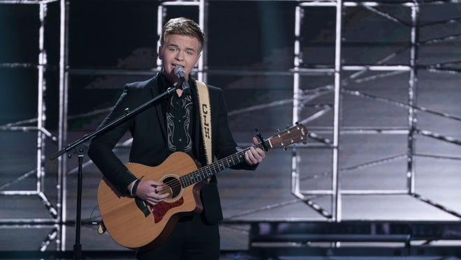 """Caleb Lee Hutchinson performs on """"American Idol."""" The season runner-up will be at the Thousand Oaks Civic Arts Plaza on Friday, along with the winner and five other finalists and Season 8 winner Kris Allen."""