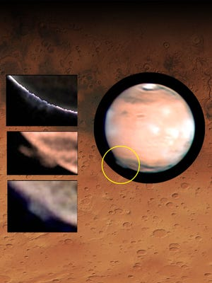 Mars with the plume identified within the yellow circle, and augmented views of the changing plume morphology in images taken by W. Jaeschke and D. Parker on March 21, 2012. On the background an area on Terra Cimmeria on Mars where the plume formed.