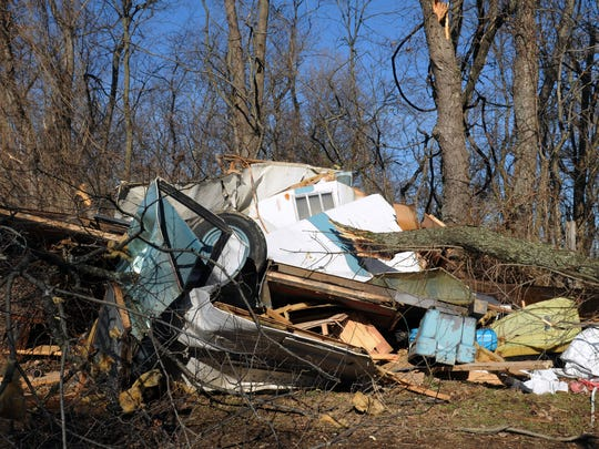 This camper at the Lancaster Campground was blown over and destroyed by a small tornado on Christmas Eve.