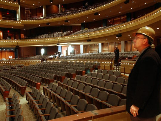 """Dayton's Mead Theatre in the Schuster Center, which opened in 2003, has raised """"terrace"""" seating on the main floor, similar to the seating plan in renovated Music Hall."""