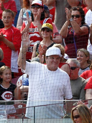 Former Cincinnati Reds great Pete Rose is acknowledged by the crowd at Great American Ballpark last season.