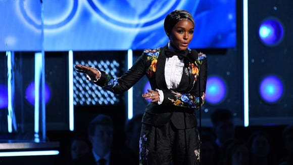 Janelle Monae introduces Kesha during the 60th Annual