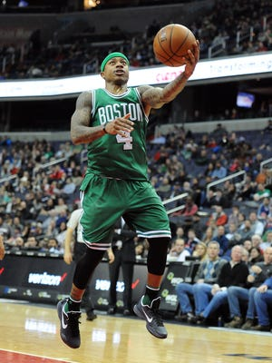 Jan. 25, 2016; Washington; Boston Celtics guard Isaiah Thomas shoots against the Washington Wizards during the second half at Verizon Center.