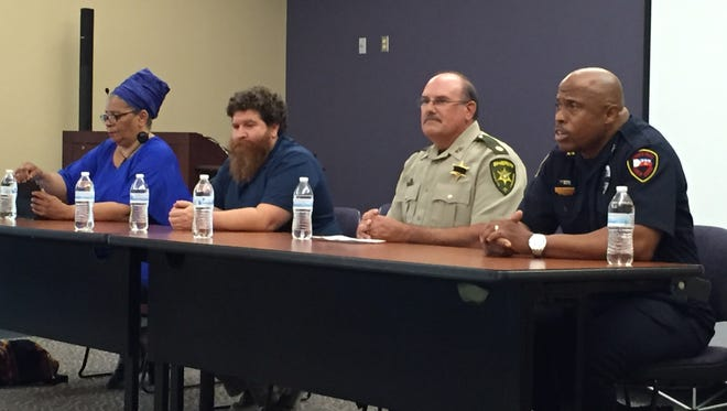 Local NAACP President Marja Broussard, UL criminal justice department head David Khey, Lafayette Parish Sheriff's Office Maj. Art LeBreton and Interim Lafayette Police Chief Reginald Thomas discuss policing at a Monday Acadiana Press Club forum.