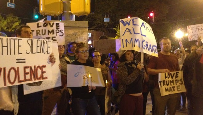 The anti-Donald Trump march ended Friday at the intersection of Cooper and Young.