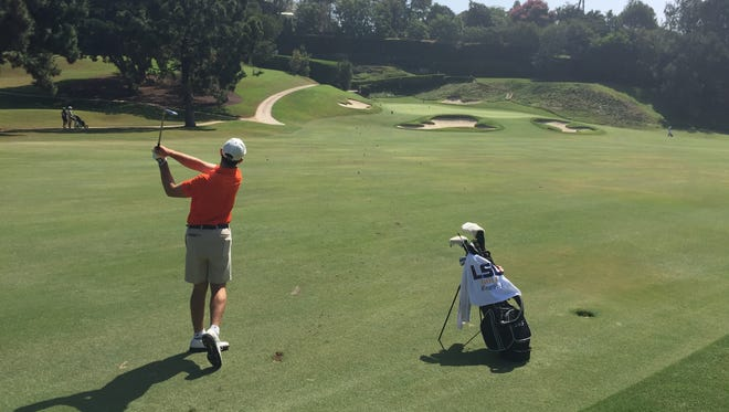 Philip Barbaree Jr. hits an approach on No. 7 at Bel-Air Country Club on Saturday in preparation for the 2017 U.S. Amateur.