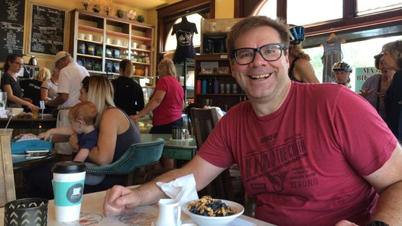 I'm getting ready to eat the baked oatmeal at Mama D's Coffee Shop in Wales.