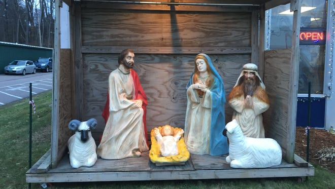 A creche in front of the Vermont Church Supply store on Pine Street in Burlington seen on Dec. 6, 2017.