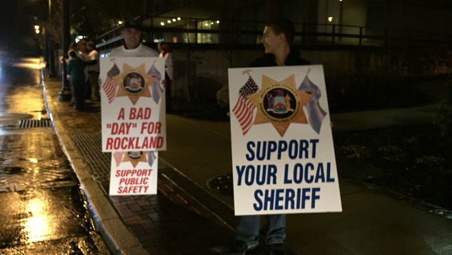 Protesters were out Thursday to rally against proposed cuts to the Rockland County Sheriff's Office.