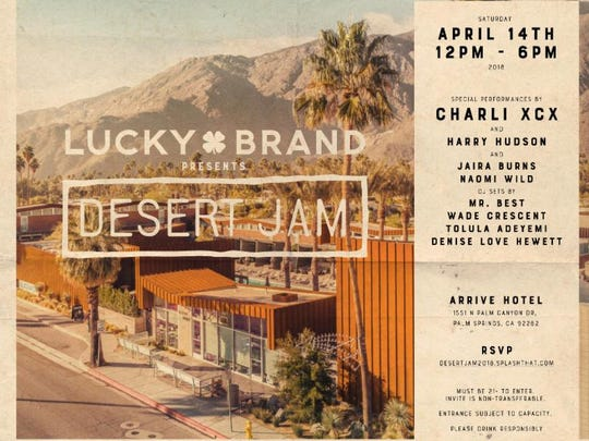 Poster for Desert Jam presented by Lucky Brand at  Arrive Hotel.