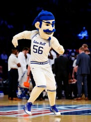 The Seton Hall Pirates mascot performs during the first