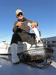 Conditions at the beginning of our day were comfortable enough. And we caught mostly trout in Baffin Bay.