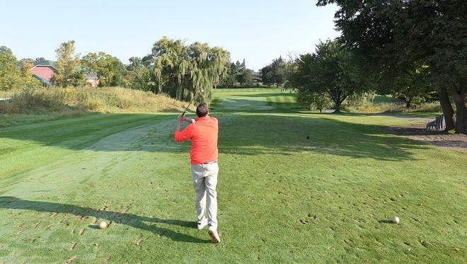 The Detroit News / GAM Hole In One Contest takes place on the No. 7 hole at Whispering Willows in Livonia.