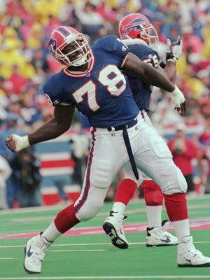 All-time sacks leader Bruce Smith is visiting with the Falcons.