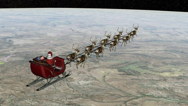 Santa is seen delivering gifts over Australia on Saturday, Dec. 24, 2016.