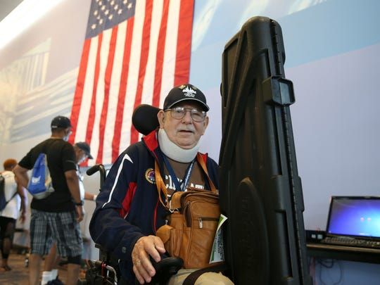 Army veteran Raymond Shepack, 82, of Hines, Illinois, is pictured during the 37th National Veterans Wheelchair Games, Wednesday, July 19, 2017, at the Duke Energy Convention Center in Cincinnati.