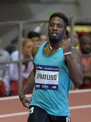 Webster's Brycen Spratling, left, held off Michael Berry to win the 500 meters in a world record time of 1:00.06 on Feb. 14 during the Millrose Games in New York City. Webster's Brycen Spratling, left, held off Michael Berry to win the 500 meters in a world record time of 1:00.06 in Feb. 14 Millrose Games in New York City.