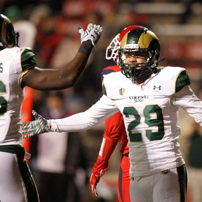 Colorado State Rams defensive back Justin Sweet (29) reacts after breaking up a pass against the Fresno State Bulldogs in the first quarter at Bulldog Stadium. Mandatory Credit: Cary Edmondson-USA TODAY Sports