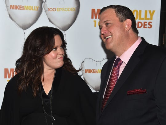 "Melissa McCarthy and Billy Gardell attend CBS's ""Mike"