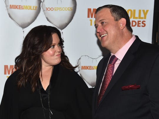"Melissa McCarthy and Billy Gardell attend CBS's ""Mike & Molly"" 100th Episode celebration at Cicada in 2015 in Los Angeles, California."