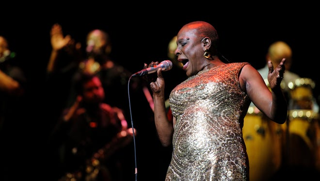 "Sharon Jones and the Dap-Kings, pictured performing in 2014 at New York City's Beacon Theater in the documentary ""Miss Sharon Jones!"""