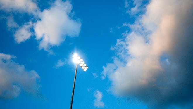South Burlington hosts Essex on the opening night of Friday night football under the light at Munson Field in South Burlington on Friday, September 1, 2017.