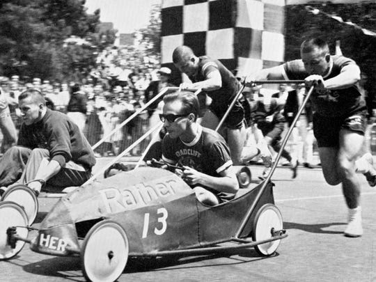 Students participating in the Push Race at Michigan