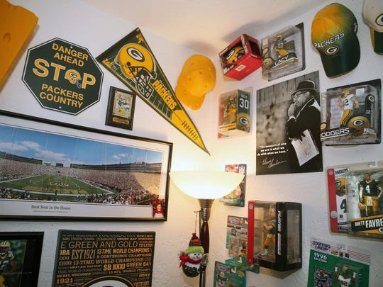 cCall, who has been a Green Bay fan since 1996, has his room filled with Packers mementos.