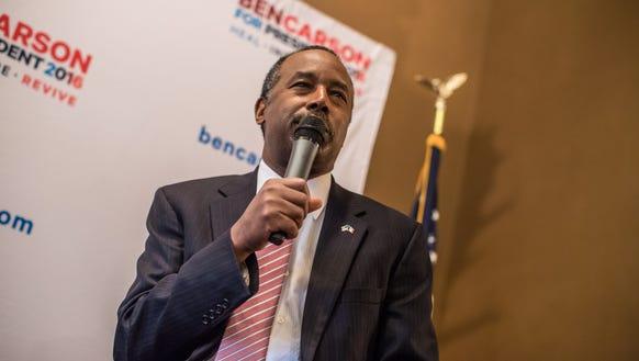 Republican presidential candidate Ben Carson speaks