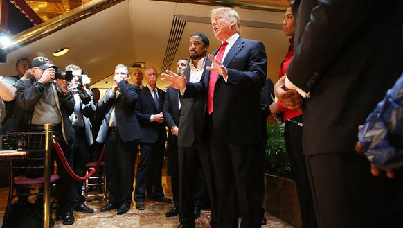 "Donald Trump greets members of the ""National Diversity"