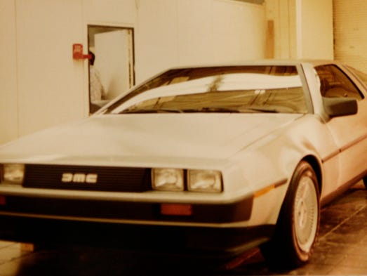The prototype DMC-12 or DeLorean sits  in the shop