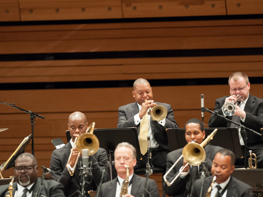 Trumpet player Wynton Marsalis (in center of photo)