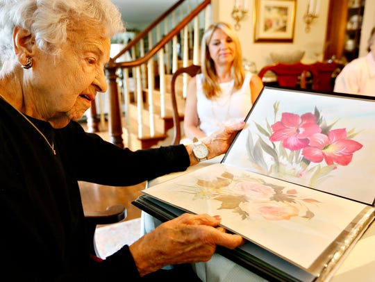 Gladys Harrold, 97, left, who lives in Jefferson, Texas,