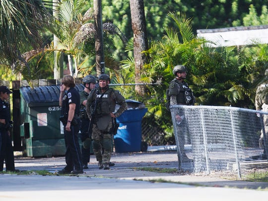 Scenes from an apparent murder-suicide at the Pebble Courts Apartments at Hanson and Jackson Street in Fort Myers.  A woman was found dead in a breezeway.  A man was later found dead.  Members of the Fort Myers Police SWAT were also called to the scene.