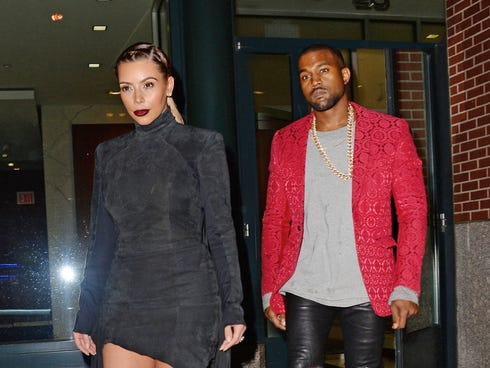 Kim Kardashian and Kanye West are seen on Nov. 23, 2013 in New York City.