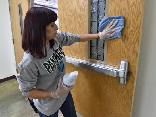 North Valleys High School lead custodian Sonia Campos