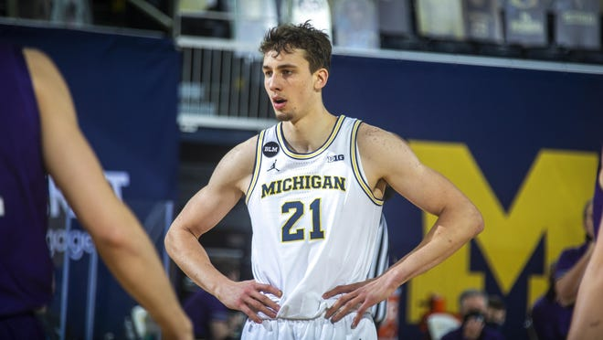 Michigan guard Franz Wagner (21)  in the second half of an NCAA college basketball game against Northwestern at Crisler Center in Ann Arbor, Mich., Sunday, Jan. 3, 2021.