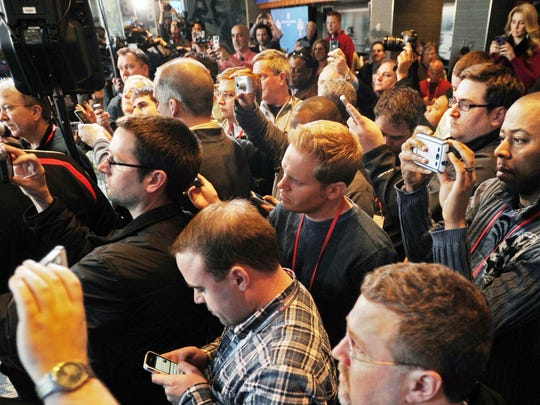 Fans will be allowed into news conferences at the NFL Combine.  which can turn into scrums.