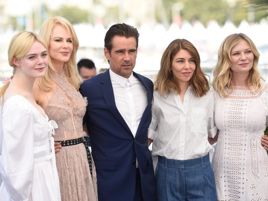 Sofia Coppola (second from right) poses with her 'Beguiled'