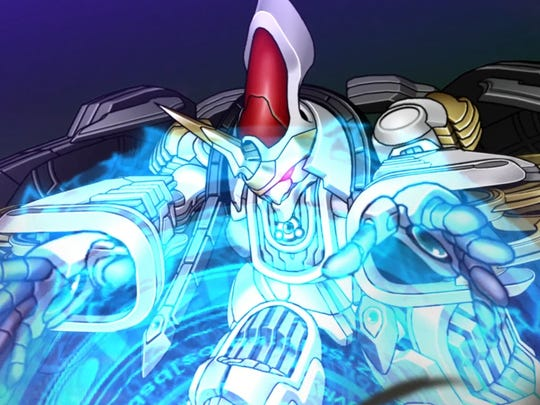 The Xelgard does its tempest attack in Super Robot