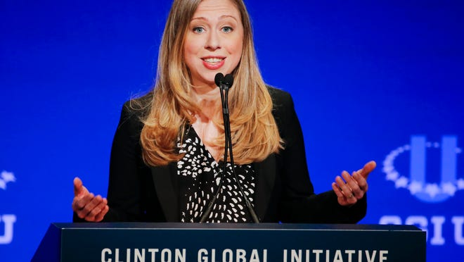 Vice Chair of the Clinton Foundation Chelsea Clinton speaks during a student conference for the Clinton Global Initiative University, Saturday, March 22, 2014, at Arizona State University in Tempe, Ariz. More than 1,000 college students are gathered at Arizona State University this weekend as part of the Clinton Global Initiative University's efforts to advance solutions to pressing world challenges. (AP Photo/Matt York) ORG XMIT: AZCC202