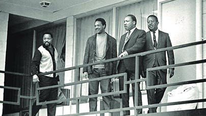 Martin Luther King Jr. with his aides, from left, Hosea Williams, Jesse Jackson and the Rev. Ralph Abernathy at the Lorraine Motel on April 3, 1968.