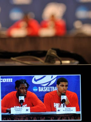 Louisville players Montrezl Harrell, left and Wayne Blackshear addressed the media prior to practice at the Carrier Dome in Syracus, NY.  March 26, 2015.