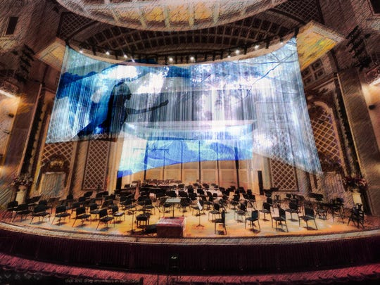 "Artist's rendering of the sheer veil that will be used for projections in the Cincinnati Symphony Orchestra's ""Pelleas and Melisande"" project."