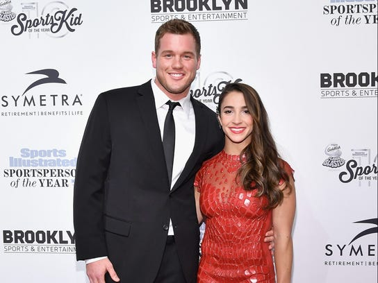 NEW YORK, NY - DECEMBER 12:  Football Player Colton Underwood and Olympic Gymnast Aly Raisman attend the Sports Illustrated Sportsperson of the Year Ceremony 2016 at Barclays Center of Brooklyn on December 12, 2016 in New York City.  (Photo by Slaven Vlasic/Getty Images for Sports Illustrated) ORG XMIT: 686712827 ORIG FILE ID: 629395154