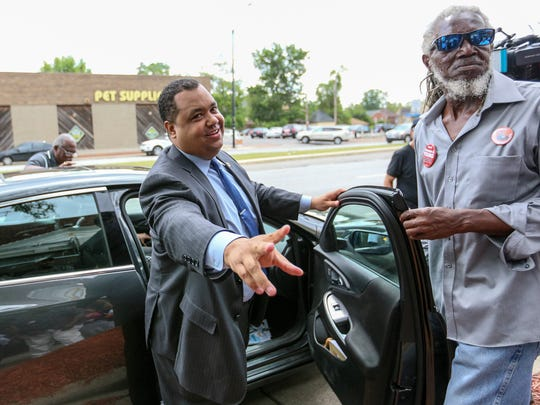 Detroit Mayoral Candidate Coleman A. Young II says goodbye to supporters after holding a press conference at his campaign headquarters in Detroit in June 2017.