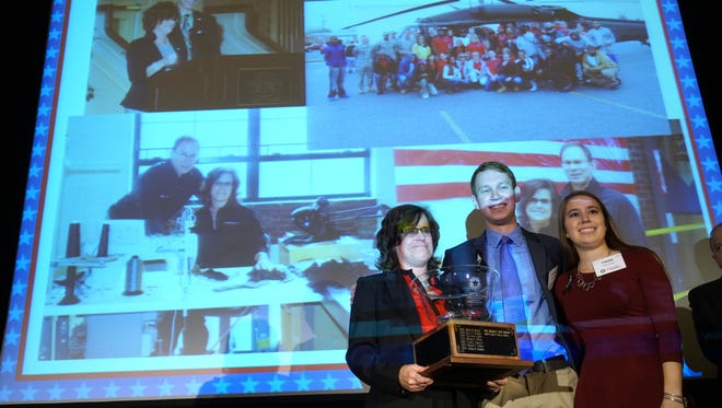 The late Frank Masley, who founded with his wife, Donna, a glove company, Masley Enterprises, was honored Wednesday  at the Marvin S. Gilman Superstars award luncheon with Marvin S. Gilman Bowl. His wife and two children, Steven and Paige, were there to accept the award.